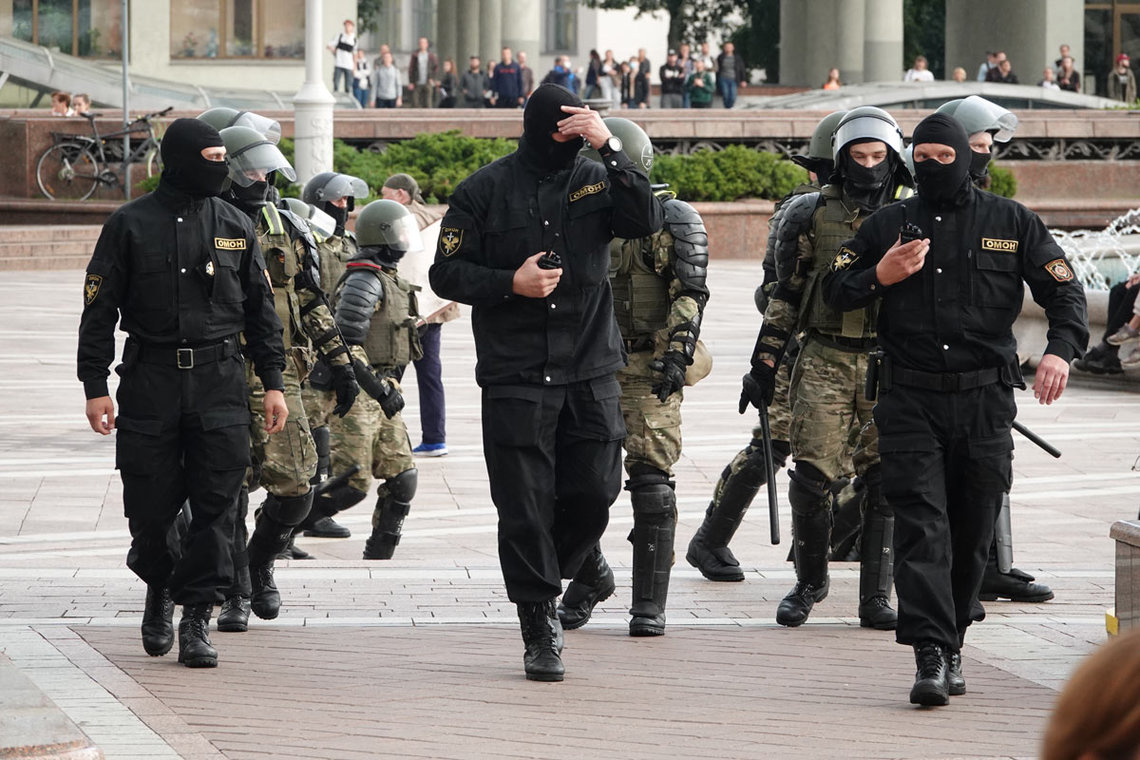 27 August 2020, Belarus, Minsk: Members of the AMAP (OMON) special police forces take position during a protest at the Independence Square against Belarusian President Alexander Lukashenko. Photo: Ulf Mauder/dpa.