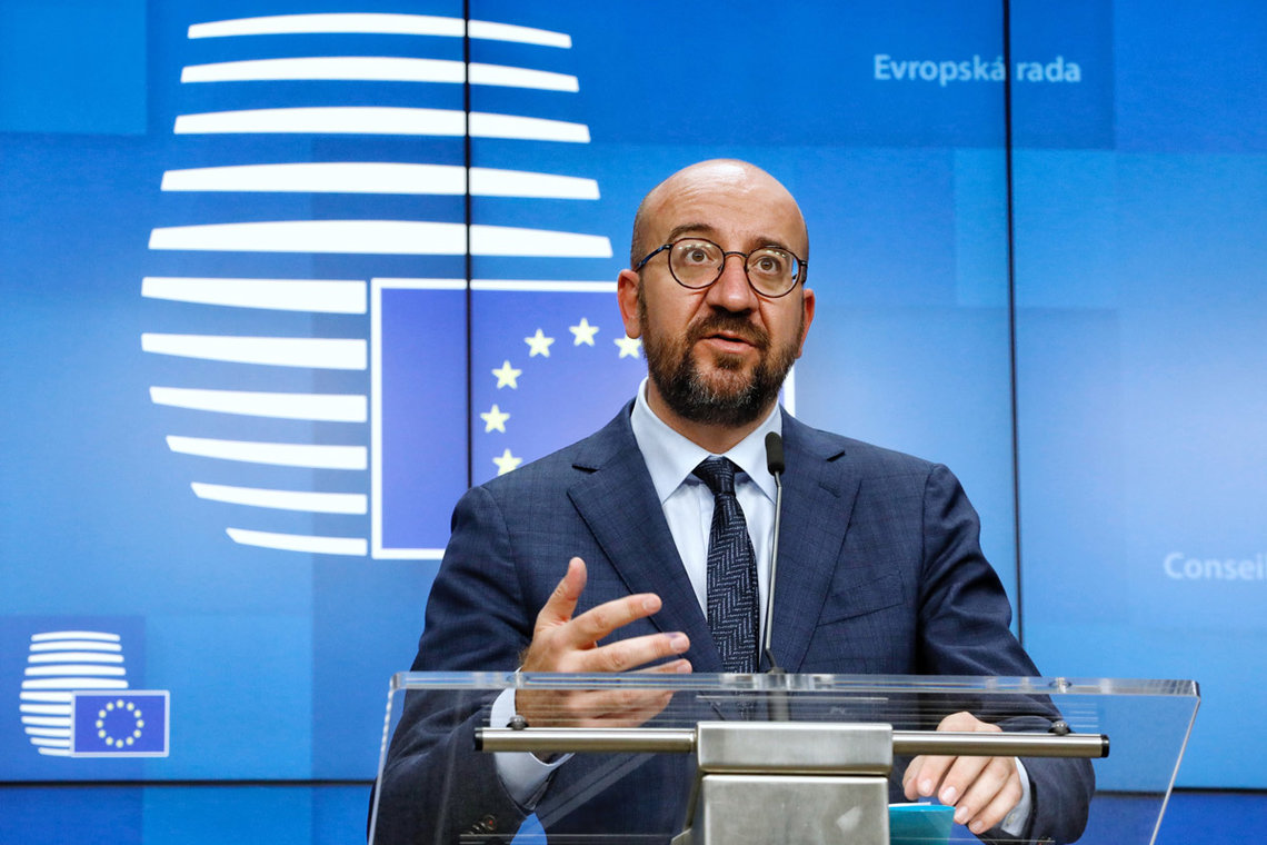 HANDOUT - 16 October 2020, Belgium, Brussels: European Council President Charles Michel speaks at a press conference after the end of a two days European Council summit, focusing on post-Brexit trade deal negotiations. Photo: Dario Pignatelli/European Council/dpa.