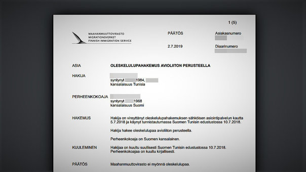 Migri denies a residence permit to a man for being Muslim and younger than his Finnish wife