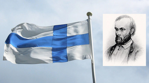 Flags wave for Aleksis Kivi, the Finnish 'Cervantes'