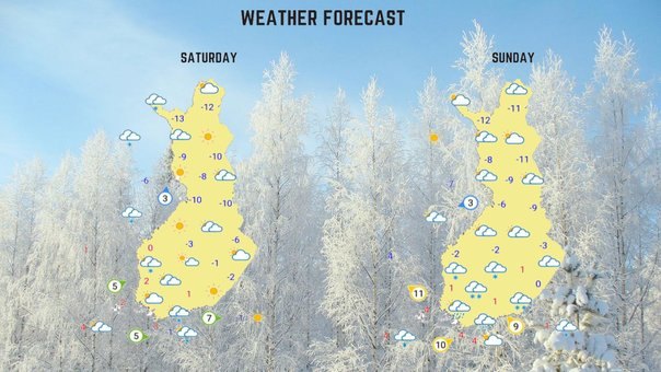 Cold sunny Saturday, possibly snow on Sunday