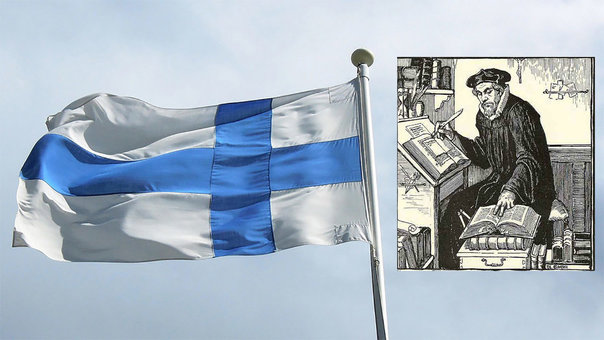 Flags fly for Mikael Agricola, the father of Finnish language