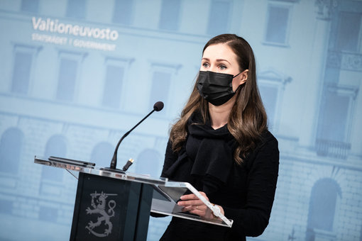 Prime Minister Sanna Marin announced the new measures at a press conference. Photo: Laura Kotila/Vnk.