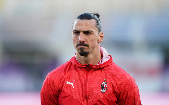 21 March 2021, Italy, Florence: Milan's Zlatan Ibrahimovic pictured prior to the start of the Italian Serie A soccer match between ACF Fiorentina vs AC Milan at Artemio Franchi Stadium. Photo: -/LaPresse via ZUMA Press/dpa