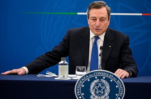08 April 2021, Italy, Rome: Italian Prime Minister Mario Draghi speaks during a press conference on the vaccination plan to fight COVID-19 pandemic. Photo: Riccardo Antimiani/Pool Ansa/Lap/LaPresse via ZUMA Press/dpa