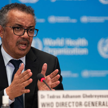 Tedros Adhanom Ghebreyesus, Director General of the World Health Organization (WHO) attends the signing of the memorandum of understanding between WHO and the WHO Foundation in Geneva, Switzerland, May 27, 2020. Christopher Black/WHO/Handout via REUTERS