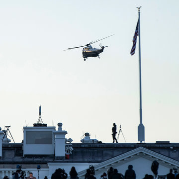 20 January 2021, US, Washington: Marine One carrying US President Donald Trump takes off from the White House as he leaves ahead of the inauguration of President-elect Joe Biden. Photo: Chris Juhn/ZUMA Wire/dpa