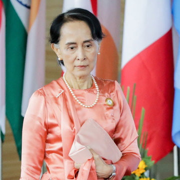 FILED - 20 November 2017, Myanmar, Naypyidaw: Aung San Suu Kyi, Myanmar's head of government, arrives at the 13th Asia-Europe Meeting. Myanmar's de facto head of government Aung San Suu Kyi and other senior politicians in the country have been detained by the military, according to her party. Myanmar's military has declared a state of emergency for a year and installed a former general as president, the military-owned Myawaddy television station announced on Monday. Photo: Kay Nietfeld/dpa