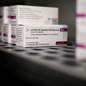 19 February 2021, Spain, Madrid: Several packages of AstraZeneca's COVID-19 vaccine stored at the Vaccination Centre of the Community of Madrid. Photo: Eduardo Parra/EUROPA PRESS/dpa