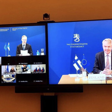 Finland was represented at the meeting by Minister for Foreign Affairs Pekka Haavisto (R) and State Secretary Olli-Poika Parviainen. Photo: Twitter/@FinlandinEU.