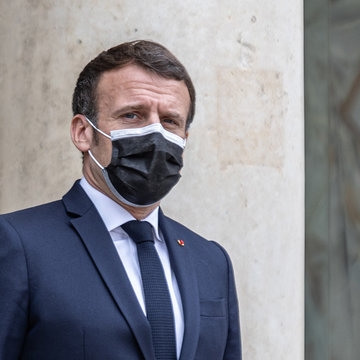 22 March 2021, France, Paris: French President Emmanuel Macron awaits the arrival of the Albanian Prime Minister Edi Rama ​prior to a meeting at the Elysee Palace. Photo: Sadak Souici/Le Pictorium Agency via ZUMA/dpa