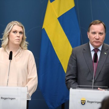 Swedish Social Minister Lena Hallengren (L) with Prime Minister Stefan Lofven at a press conference. Photo: Twitter/@lenahallengren.