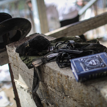30 April 2021, Israel, Mount Meron: Leftover personal items are pictured at the Jewish Orthodox pilgrimage site of Mount Meron, where dozens of worshippers were killed in a stampede during the Jewish religious festival of Lag Ba'Omer in northern Israel early on Friday. Photo: Ilia Yefimovich/dpa