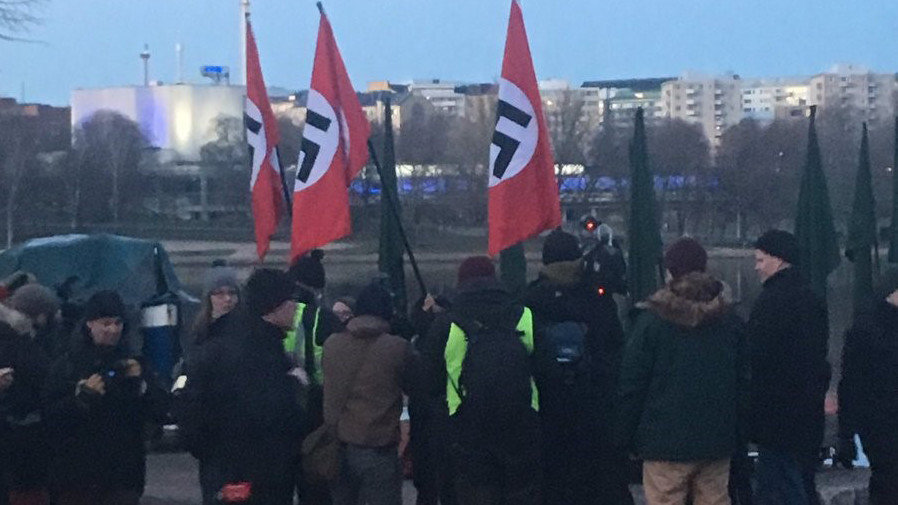 Protesters with Nazi flags in Helsinki on December 6, the Finnish Independence Day.