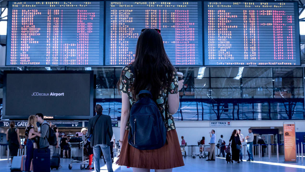 Woman girl airport