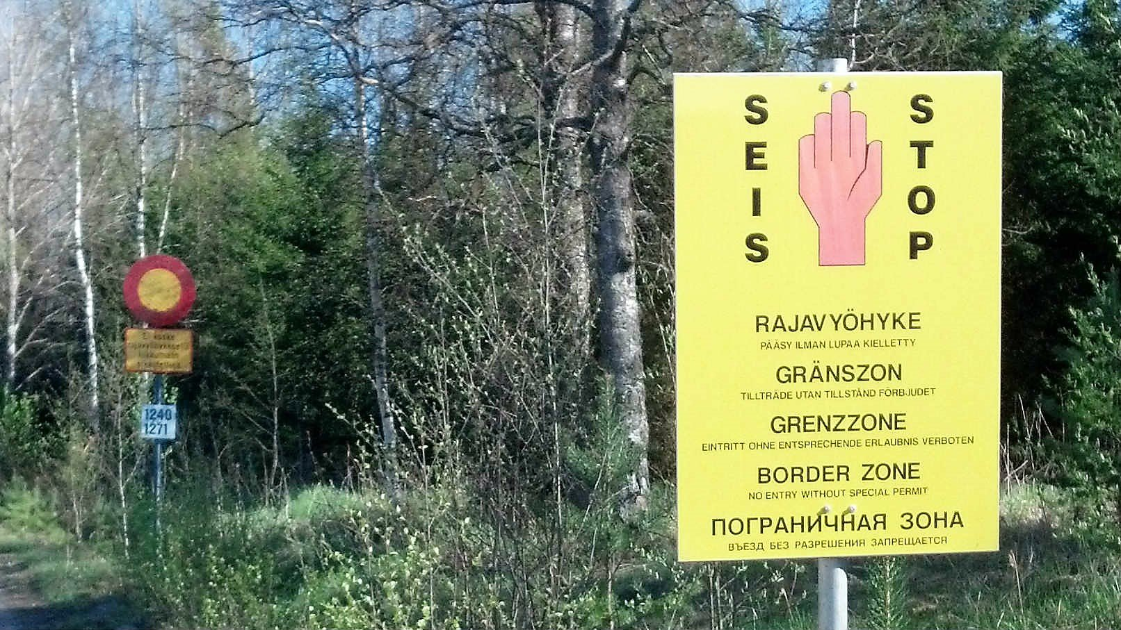 One of the real signs at Finland's border with Russia. Photo: © Foreigner.fi.