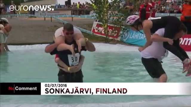 Wife Carrying World Championships. Screenshot from Euronews YouTube channel No Comment TV
