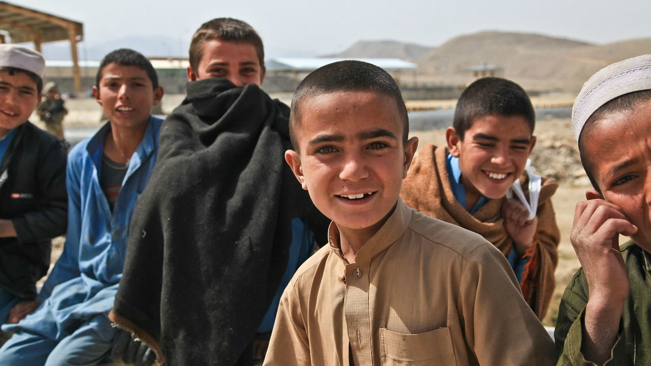 A group of children in Afghanistan. Image by Amber Clay.