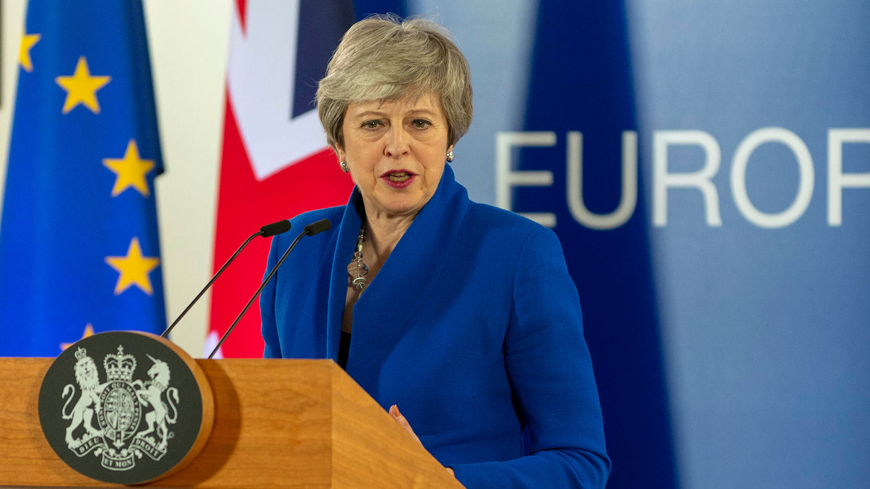 British prime minister, Theresa May, last night in Brussels. Photo by: European Union.