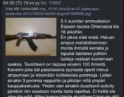 Threat message simulated gun Espoo