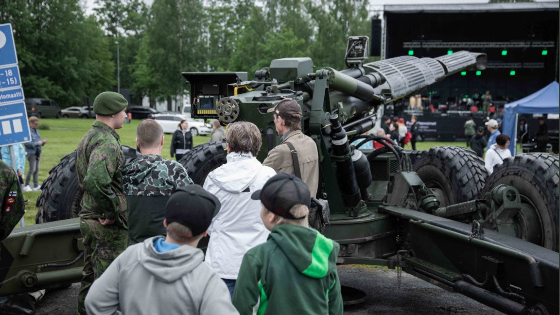 Civilians enjoy an exhibition of military equipment. Photo: Finnish Armed Forces/@Puolustusvoimat