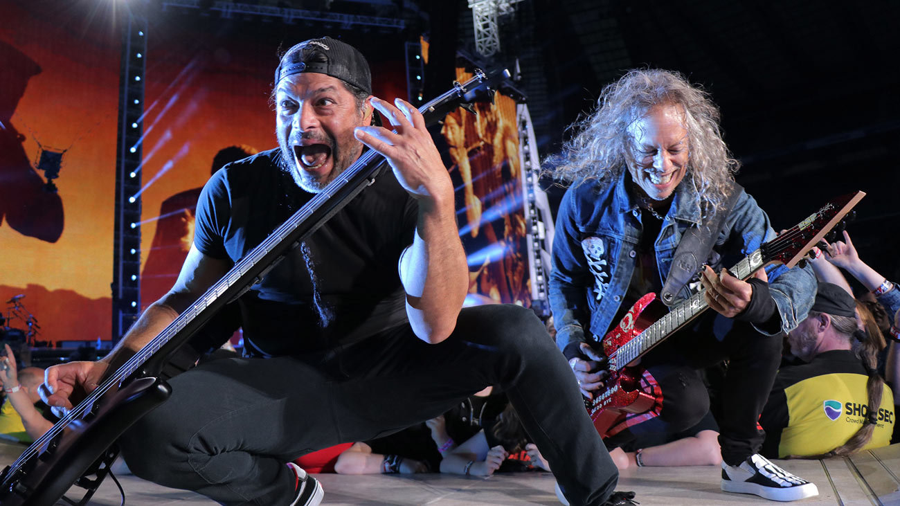 Robert Trujillo and Kirk Hammet. Photo: Jeff Yeager. © Metallica and Blackened Recordings.