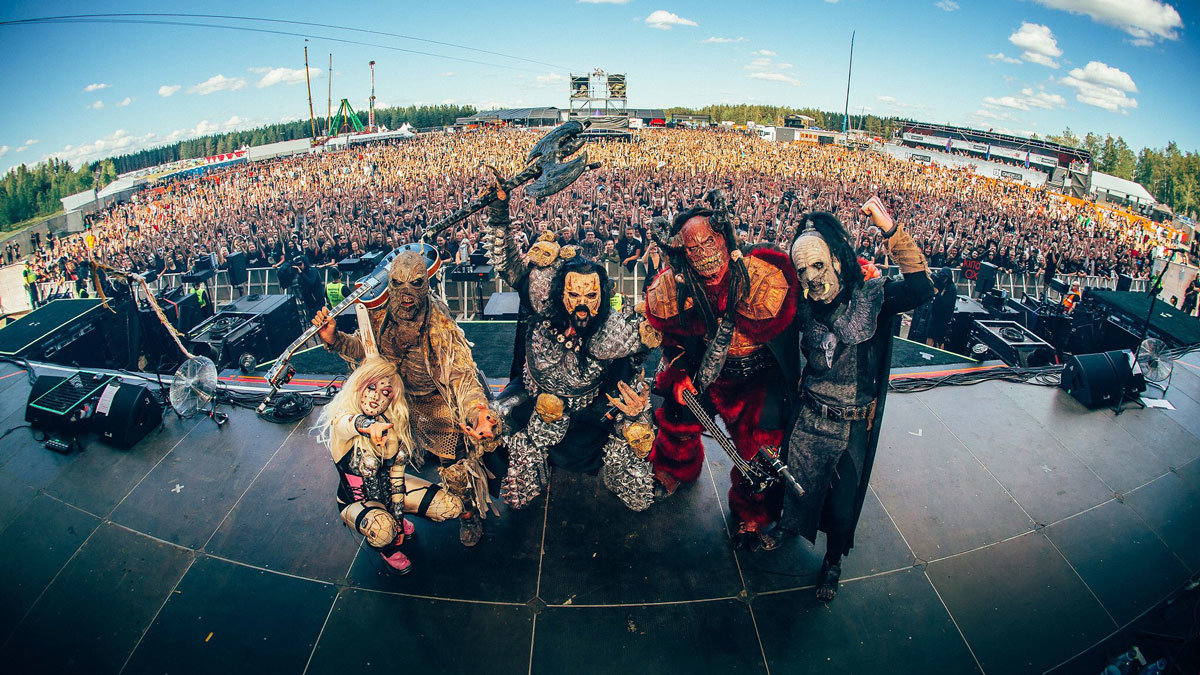 The Finnish band Lordi, during a show at Hyvinkää Airfield. Photo: © Henri Juvonen / www.henrijuvonen.com