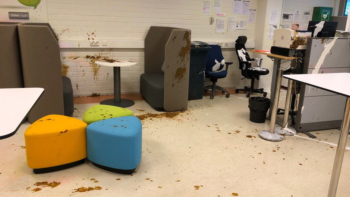 This is how the office was after the incident. Photo: Twitter Jarmo Ukkonen.