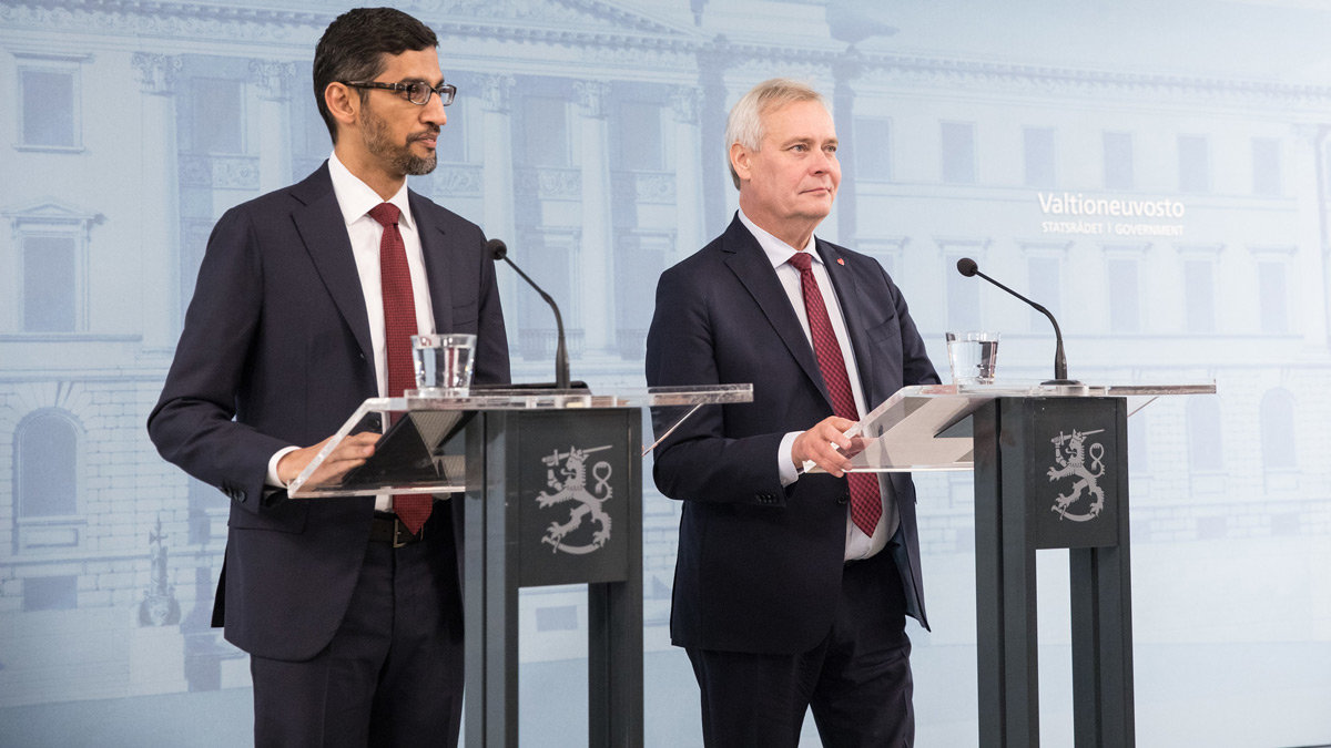Sundar Pichai (left) and Antti Rinne. Photo: © Lauri Heikkinen/Finnish Government.