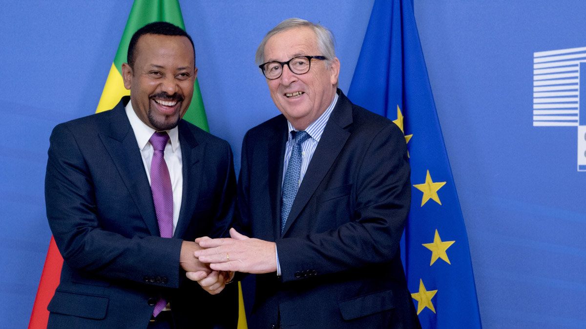 Abiy Ahmed (left) with the President of EU Commission, Jean-Claude Juncker. Photo: @EU_Commission.