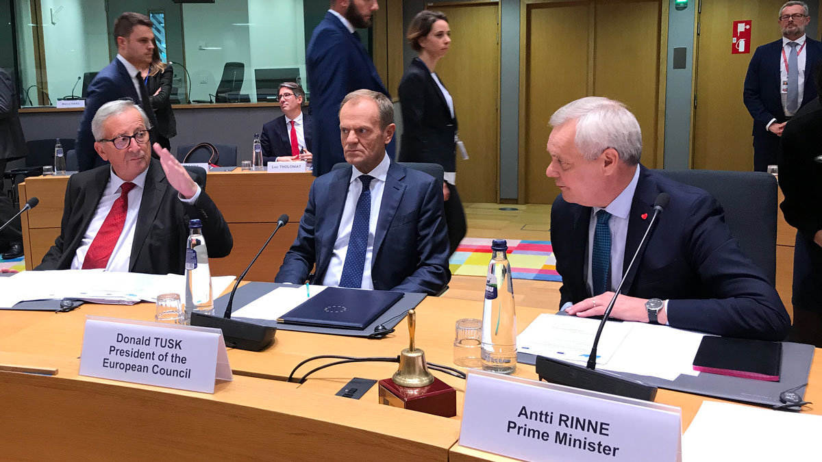 From left to right, Jean Claude Juncker, Donald Tusk and Antti Rinne. Photo: Anne Sjöholm/Valtioneuvosto