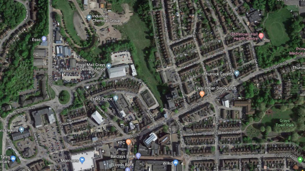 Satellite image of Grays, where the truck was discovered. Image: Google maps.