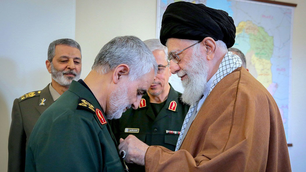 General Soleimani receiving a decoration from Supreme Leader Ali Khamenei. Photo credit: Khamenei.ir.