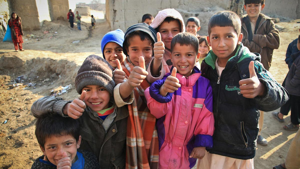 Group of children in Afghanistan. Photo: Amber Clay.