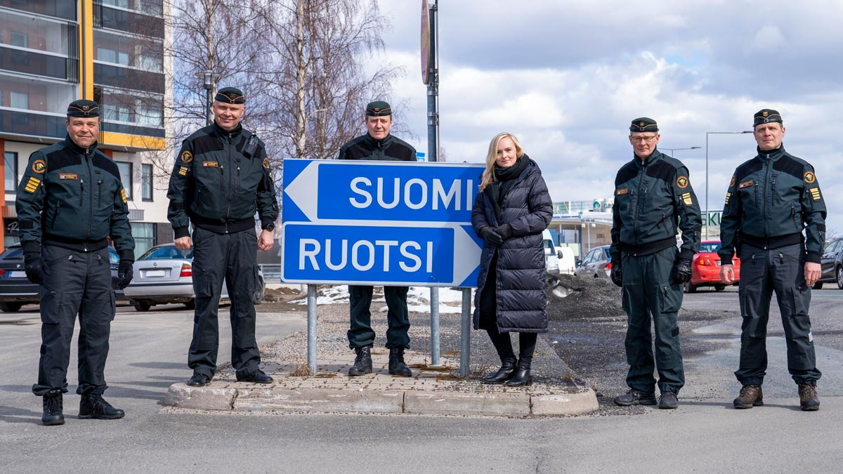 Minister of the Interior Maria Ohisalo visiting the border crossing point in Tornio (Lapland). Photo: Border Guard/@rajavartijat