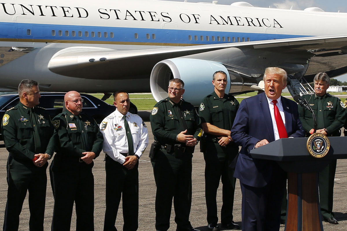 US President Donald Trump speaks to reporters at Tampa International Airport. Photo: Tampa Bay Times/dpa.