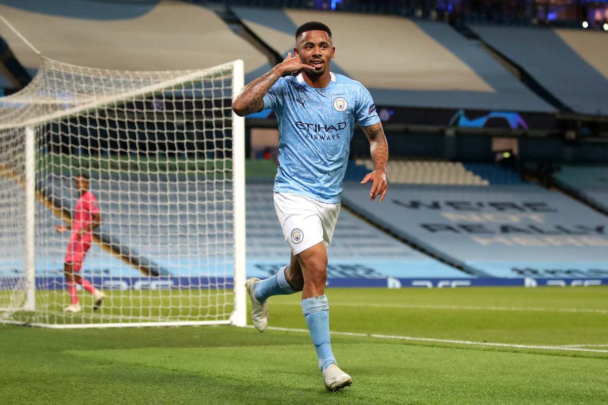 07 August 2020, England, Manchester: Manchester City's Gabriel Jesus celebrates scoring his side's second goal with teammates during the UEFA Champions League round of 16 second leg soccer match between Manchester City and Real Madrid at the Etihad Stadium. Photo: Nick Potts/dpa.