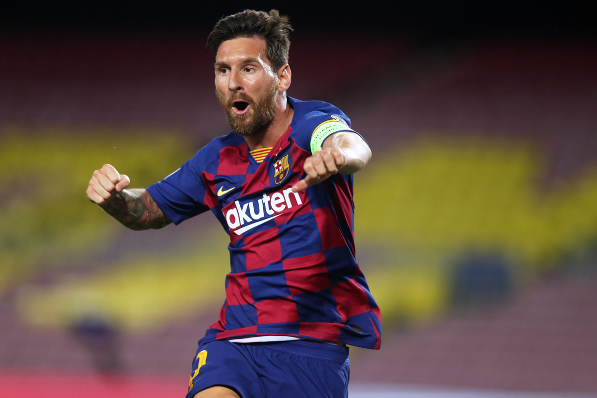 Barcelona's Lionel Messi celebrates scoring during a UEFA Champions League match. Photo: Miguel Ruiz/UEFA/dpa.