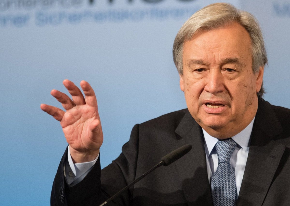 UN Secretary General Antonio Guterres speaks during the 2017 Munich Security Conference. Photo: Matthias Balk/dpa/File photo.