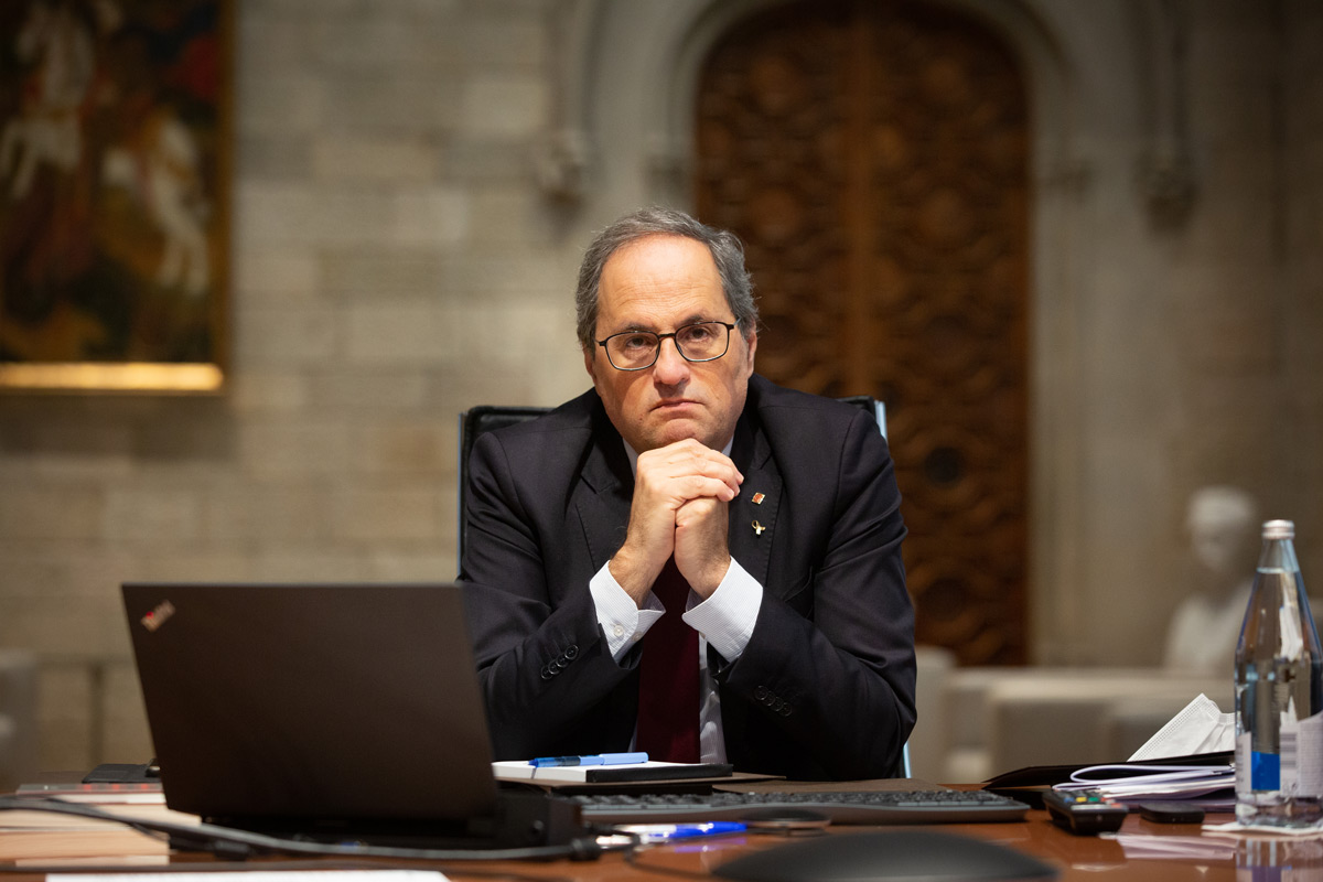 President of the Government of Catalonia, Quim Torra, at Palace of the Generalitat de Catalunya. Photo: David Zorrakino/dpa/File photo.