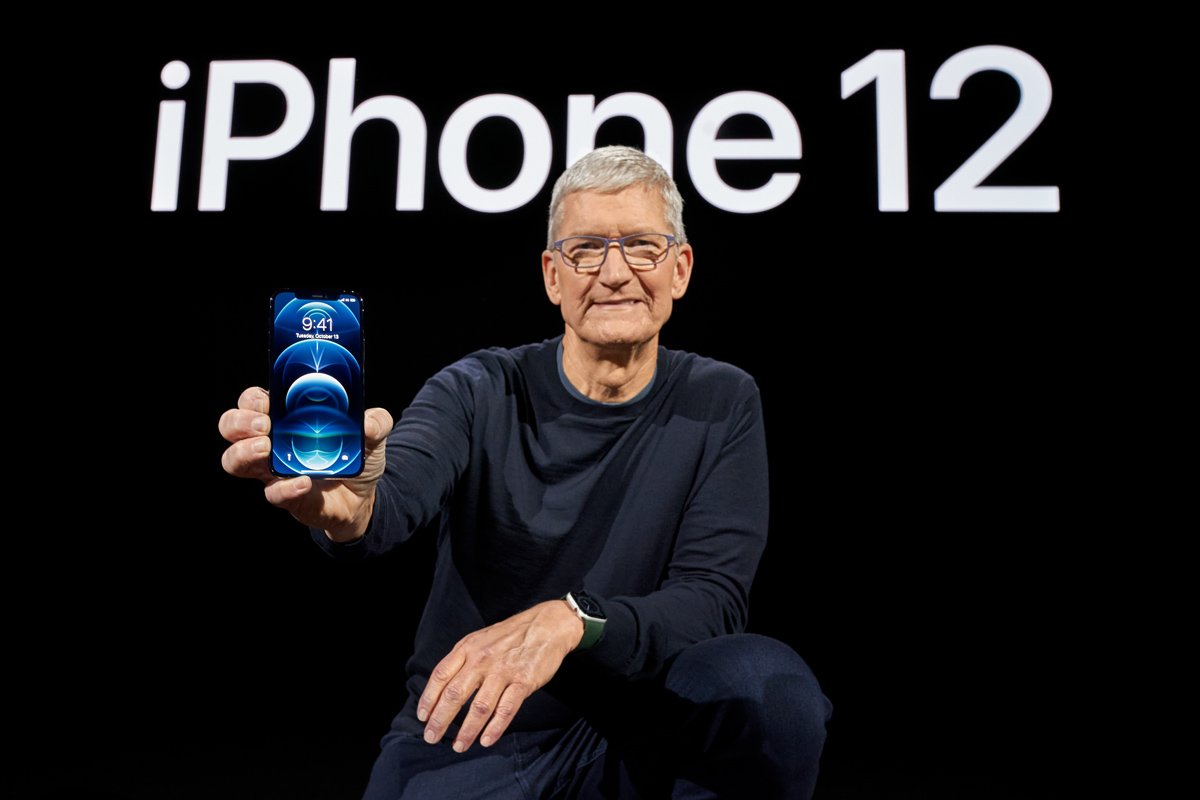 13 October 2020, US, Cupertino: Apple CEO Tim Cook speaks during the Apple Event for the unveiling of Apple's iPhone 12 Proand the iPhone 12 Pro Max. Photo: Apple.