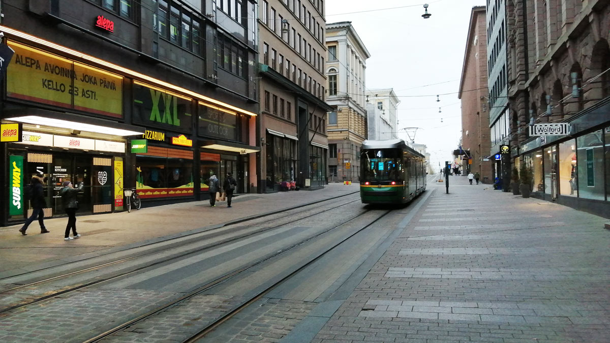 A tram runs through the center of Helsinki. Photo: Foreigner.fi.