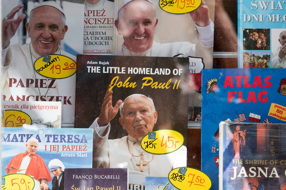 Books on Pope Francis and Pope John Paul II, seen in Krakow, Poland. Armin Weigel/dpa/file photo.