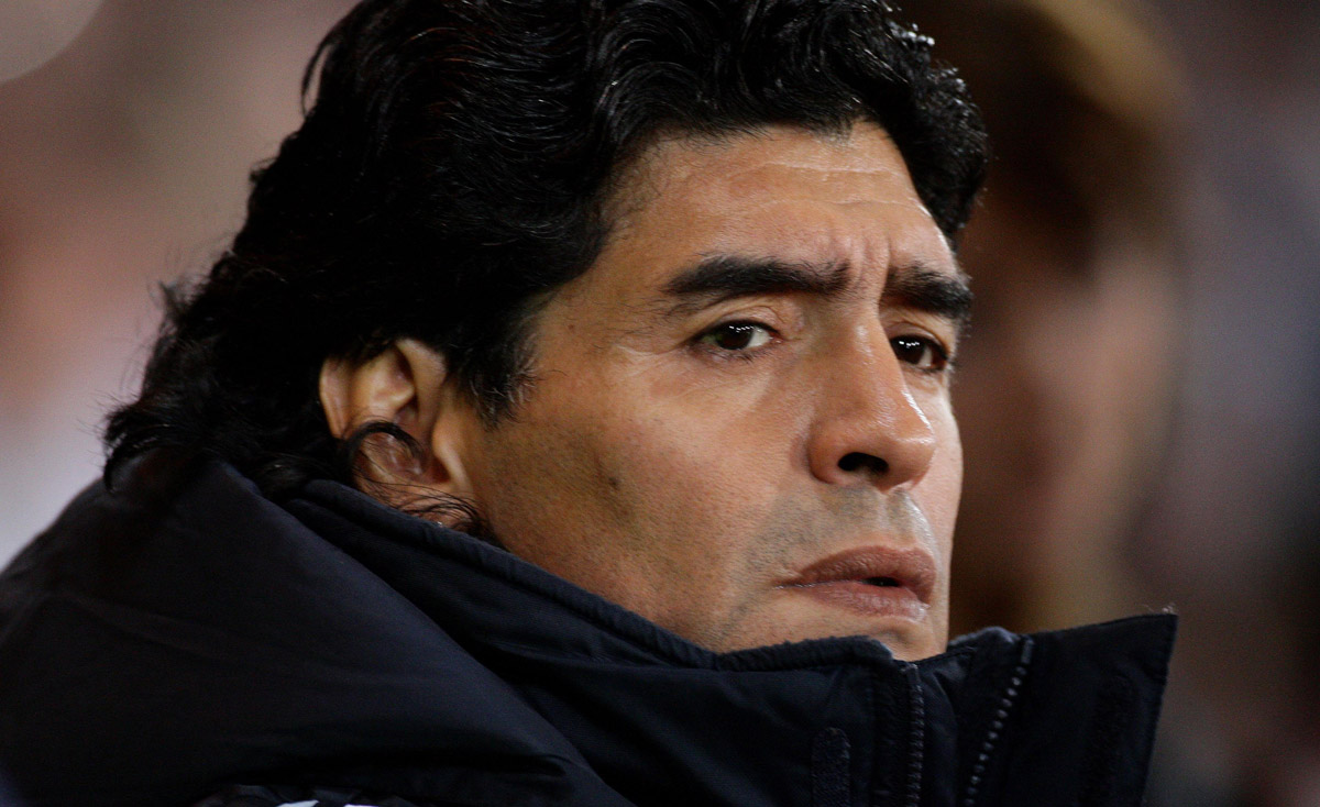 FILED - 19 November 2008, Scotland, Glasgow: Diego Maradona, then Argentina national head coach looks on during the friendly soccer match between Scotland and Argentina at Hampden Park.