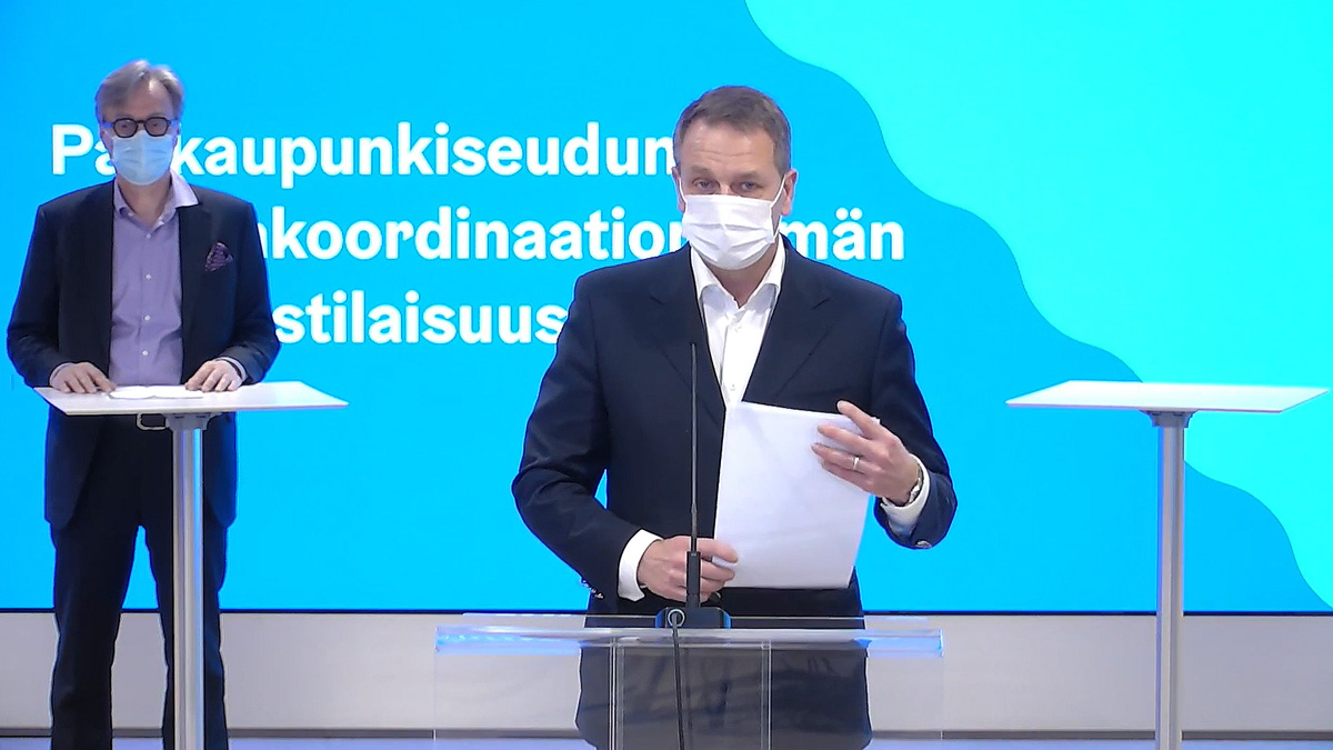 Helsinki mayor Jan Vapaavuori. Image: screenshot from press conference live broadcast by City of Helsinki.