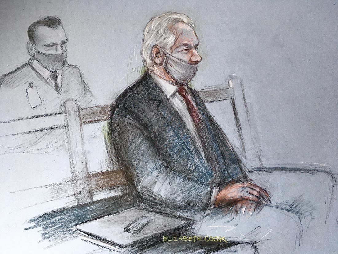 A sketch by Elizabeth Cook shows Julian Assange (R) attending his extradition trial at the Central Criminal Court. Photo: Elizabeth Cook/dpa.