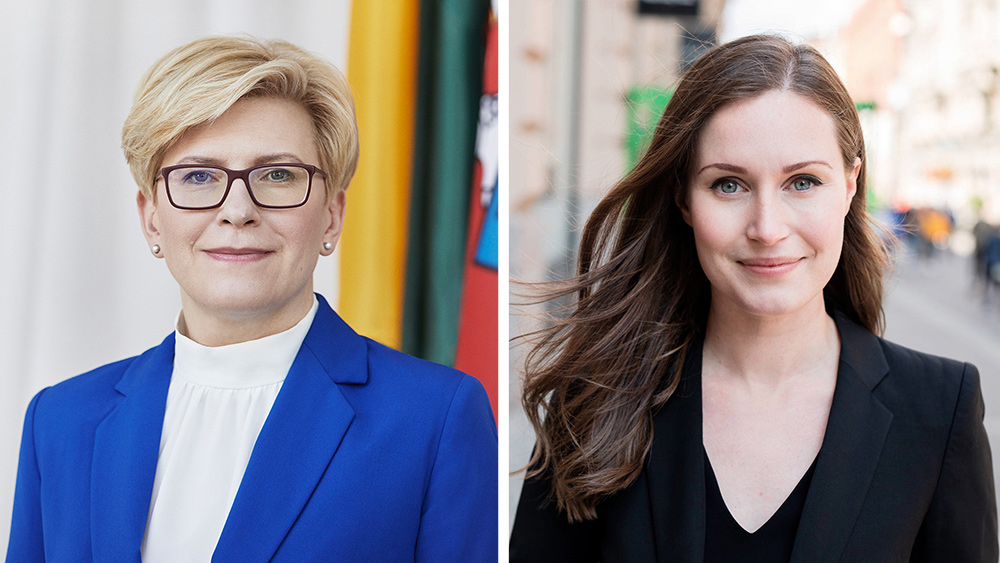 Prime Ministers Sanna Marin (R) and Ingrida Šimonytė. Photo: Twitter/@FinGovernment.