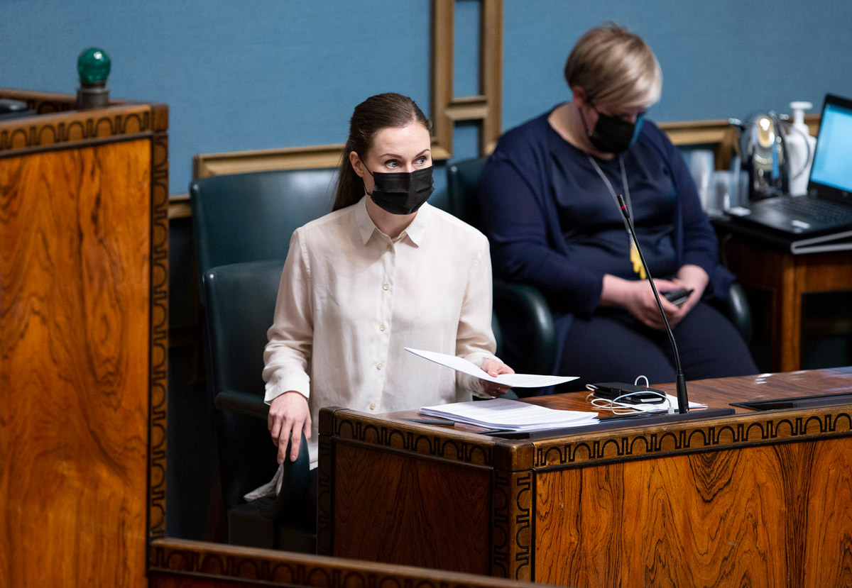 Prime Minister Sanna Marin, at one point in her address to Parliament. Photo: Hanne Salonen/Eduskunta.