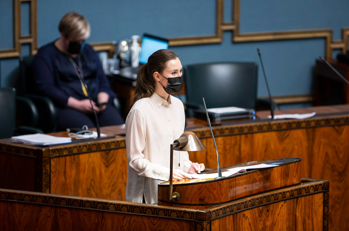 Prime Minister Sanna Marin, last week when she presented the bill to Parliament. Photo: Hanne Salonen/Eduskunta.