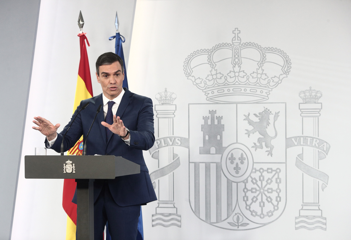 06 April 2021, Spain, Madrid: Spanish Prime Minister Pedro Sanchez attends a press conference after the weekly Cabinet meeting. Photo: Europa Press/E. Parra. Pool/EUROPA PRESS/dpa